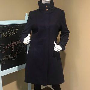 NWOT ViaSpiga sz12 navy blue wool coat w/zipper!